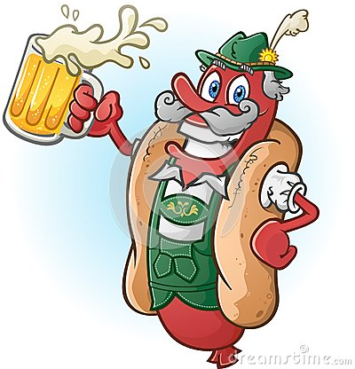 oktoberfest-bratwurst-hotdog-cartoon-character-drinking-beer-wearing-traditional-bavarian-lederhosen-large-mug-ready-33126319